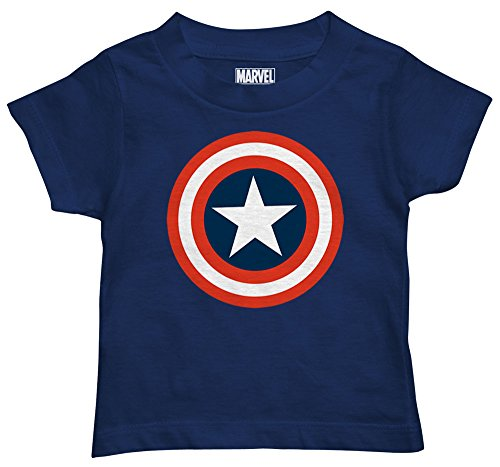 Marvel Boys' Toddler Boys' Captain America T-Shirt, Navy, 3T