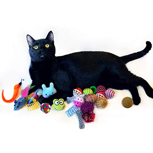 Cowfish Cat Toys Kitten Toys Assortments, 27PCS Variety Toy Set Including Cat Feather Teaser Wand, Feather Toys, Mice, Catnip Toys, Colorful Balls, Bells for Cat, Kitty, Kitten 6
