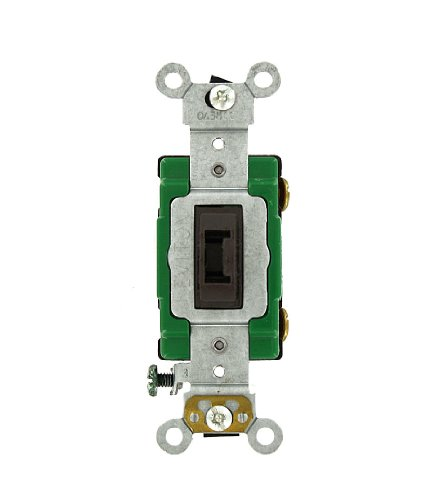 Leviton 3031-2L 30 Amp, 120/277 Volt, Toggle Locking Single-Pole AC Quiet Switch, Extra Heavy Duty Grade, Self Grounding, Brown 120 Single