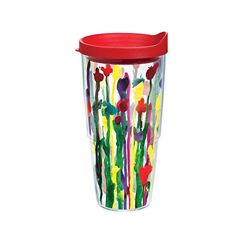 Tervis Skinny Flower Wrap Tumbler with Red Lid, 24-Ounce (Skinny Flower)