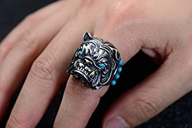 Details about  /Real 925 Sterling Silver Ring Bulldog Turquoise Inlay Open Size 8 9 10 11