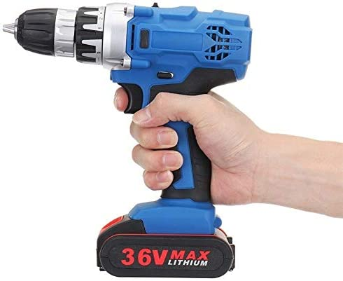 Electric Drill + Bit Accessories 36V 18+1 Speed Torque Adjustment for Home Improvement DIY Project