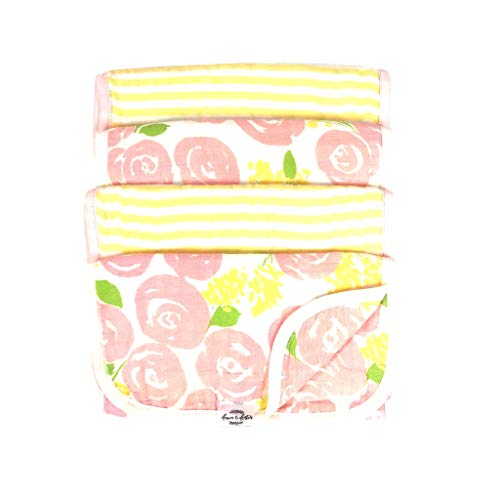 Fawn & Foster 100% Organic Muslin Cotton 4-Pack Baby Burp Cloth Quadruple Layer Ultra Soft and Absorbent Dual-Sided Print (Stella)
