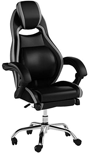 Merax Racing Style Executive PU Leather Swivel Chair Adjustable Pivoting Lumbar and Padded Footrest (Balck and Grey) Henglin