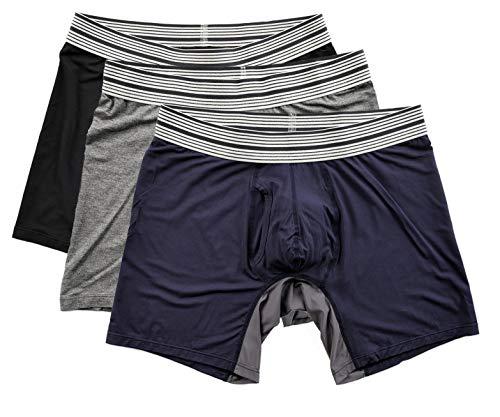 Mr. Davis Men's Bamboo Viscose Standard Cut Boxer Brief Underwear Navy, Grey, Black Size X-Large Variety 3 Pack