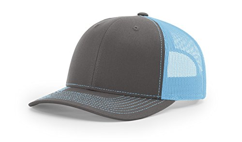 Richardson 112 Mesh Back Trucker Cap Snapback Hat, Charcoal/Colonial Blue