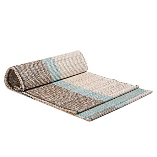 ShalinIndia Handloom Woven Eco Friendly Banana Bark and River Grass Cross Table Runner 13x45 Inch-Kitchen Dining Home Décor-with A Cotton Bag,Turquoise