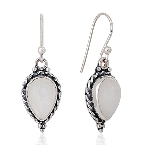(925 Sterling Silver Moonstone Gemstone Pear Shaped Rope Edge Vintage Dangle Hook Earrings 1.4