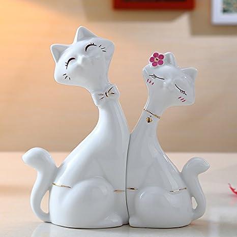 GODRI Encantadores Amantes De La Cerámica para Gatos/Muebles para El Hogar Modernos Y Creativos/Decoración De La Sala De Estar: Amazon.es: Hogar
