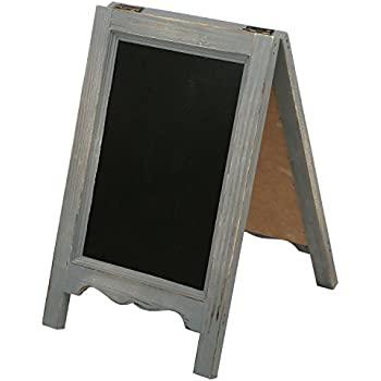 15 Inch Mini Tabletop Wooden A Frame Double Sided Slate Chalkboard Sign  Easel,
