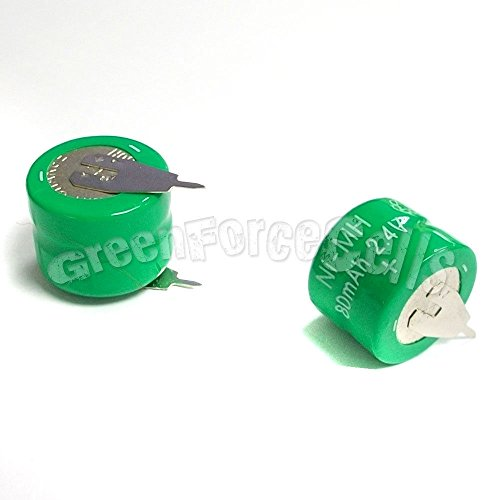 - 1 pc Ni-MH 80mAh 2.4V button Rechargeable Battery with tab