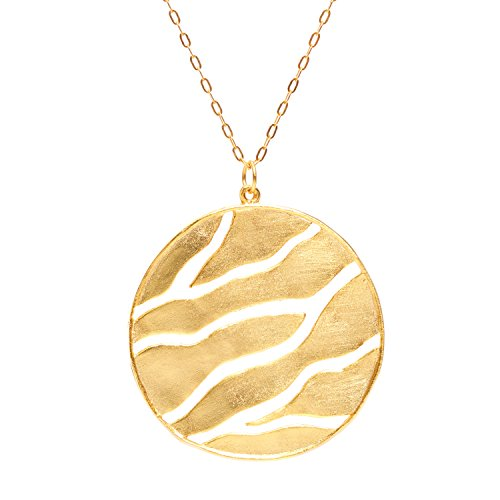 Open Branch Disk Pendant Necklace (24k Gold-Plated) by Mercedes Shaffer (Disc Organic Pendant)