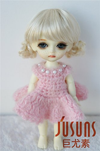 Jusuns JD400 5-6inch 13-15CM Lovely syntheitc mohair doll wigs 1/8 Lati yellow doll accessories Blond Double little short curly pony BJD - Yellow Mohair