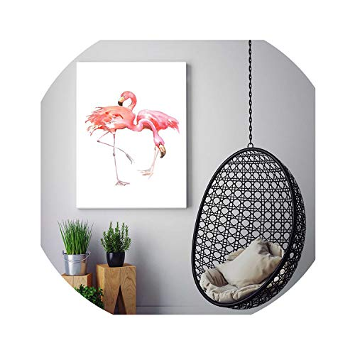 HANBINGPO Wall Painting Watercolor Flamingo Canvas Wall Art Hand Painted Canvas Oil Paintings Art Picture Home Decor Unframed,30x40cm No Frame,Light Grey