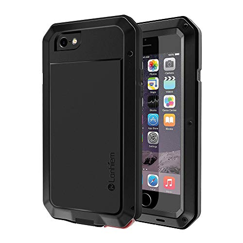 iPhone 6 / 6s Case, Lanhiem Heavy Duty Shockproof [Tough Armour] Metal Case with Built-in Screen Protector, 360 Full Body Protective Cover for iPhone 6 6s, Dust Proof Design -Black ()