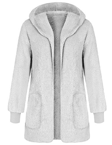ANGGREK Ladies Pocket Fluffy Fleece Cardigan Sweater Hooded Faux Fur Coat Jacket Gray ()