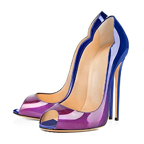 Color Toe Wedding Peep Women Patent Extreme Court Blue Pumps Emiki Heel Stilettos Party Gradient High Shoes Leather Sandals purple HvExW6