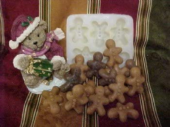 Mini Gingerbread Men Embeds 5 Cavity Silicone Mold 191 Food-Soap-Candle-Resin-Flexible Silicone Mold