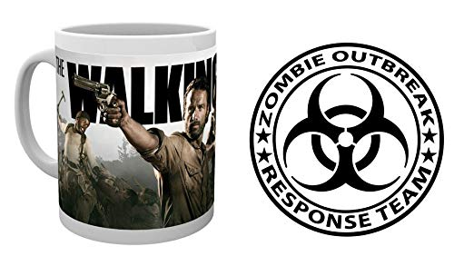 1art1 The Walking Dead, Rick Grimes and Daryl Dixon Photo Coffee Mug (4x3 inches) and 1 Zombies, Sticker Adhesive Decal (4x4 inches)