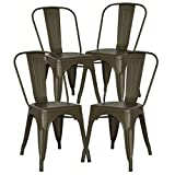 POLY & BARK EM-112-BRZ-X4 Trattoria Side Chair in Bronze, Set of 4