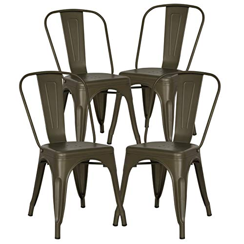 POLY & BARK EM-112-BRZ-X4 Trattoria Side Chair in Bronze, Set of 4