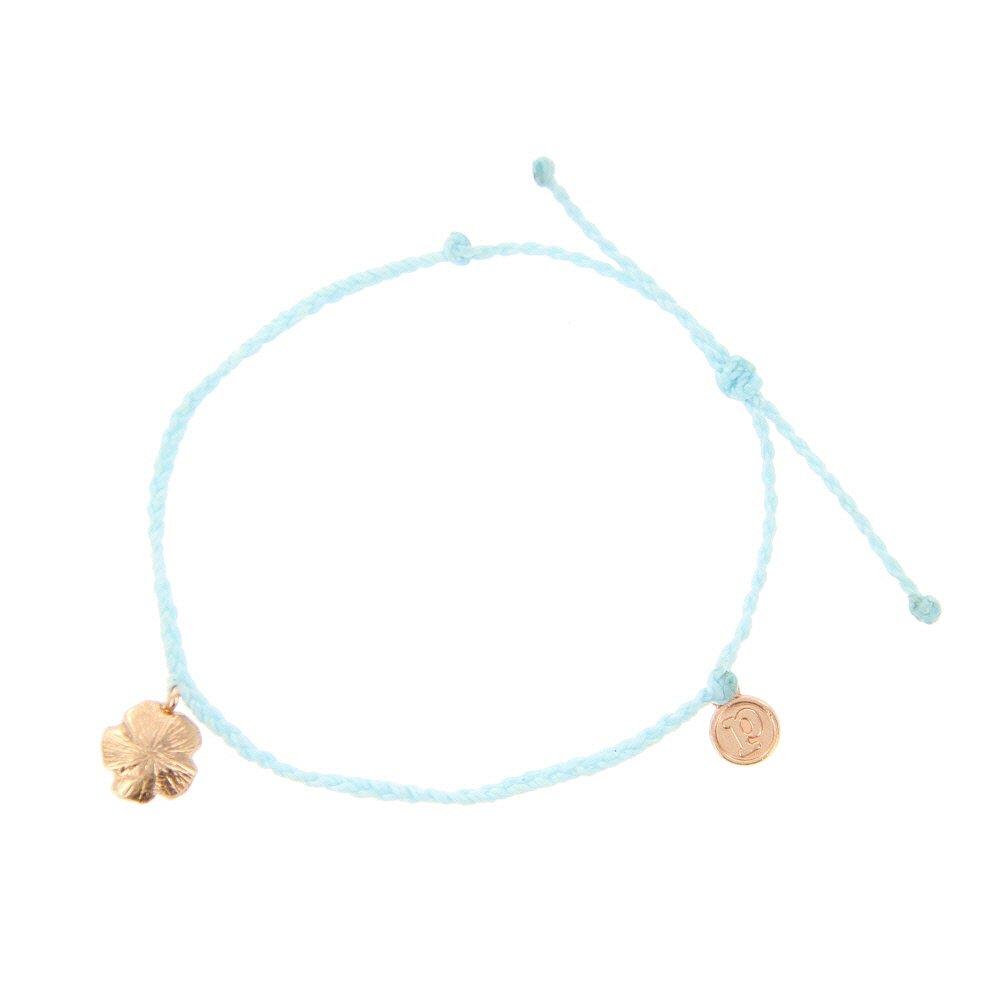 Pura Vida Bitty BB Hibiscus Charm Ice Blue Bracelet - Rose Gold-Plated Charm, Adjustable Band - 100% Waterproof