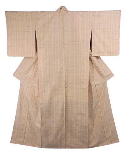 夜明けに物足りない気を散らすリサイクル 着物 紬  草木染 格子文様 正絹 袷 裄65.5cm 身丈165cm