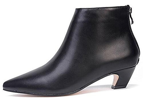 Boots Women's Suede Black Pointed Ankle Back Zipper Unique IDIFU Chunky Toe Faux Short Mid Heels Pu With P1dPwqx8R