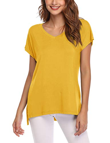 (AUPYEO Women's Short Sleeve T Shirt V Neck Loose Tops Casual Tee with Side Split Yellow)