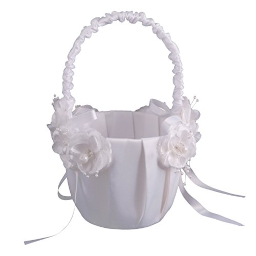 Jili Online Elegant Flower Girl Basket with Flower Pearl Ribbon Decorations Wedding Party Supply by Jili Online