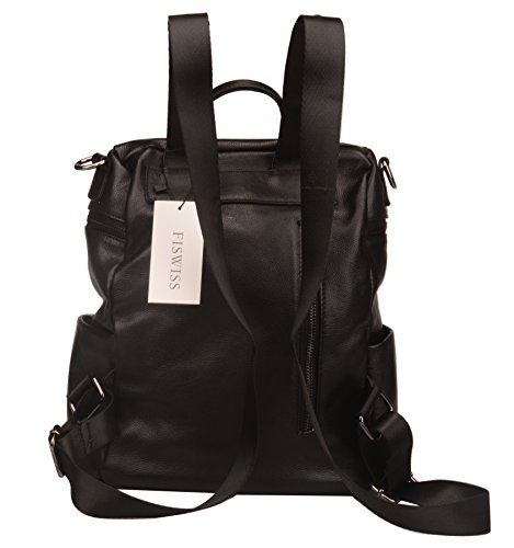 Fiswiss Women's Genuine Leather Fashion Backpack School Backpack Purse Handbags (Black) by Fiswiss (Image #4)