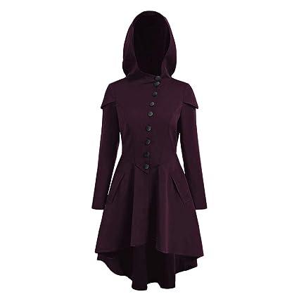 Elegante Abrigo con Capucha para Mujer de Halloween, con Encaje, Dobladillo bajo, Morado