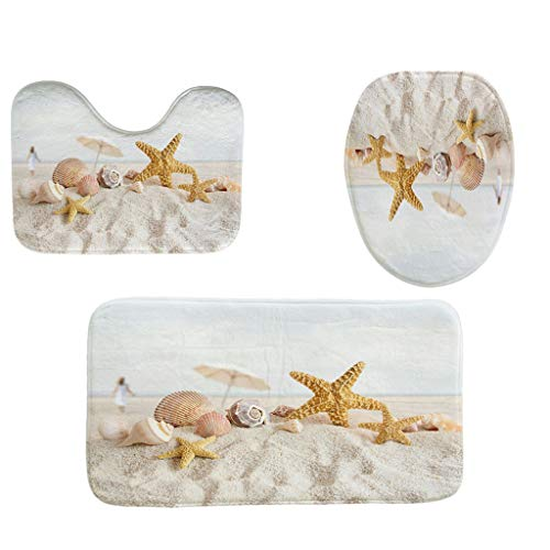 YAYUMI 3pcs Non-Slip Fish Scale Bath Mat Bathroom Kitchen Carpet Doormats Decor
