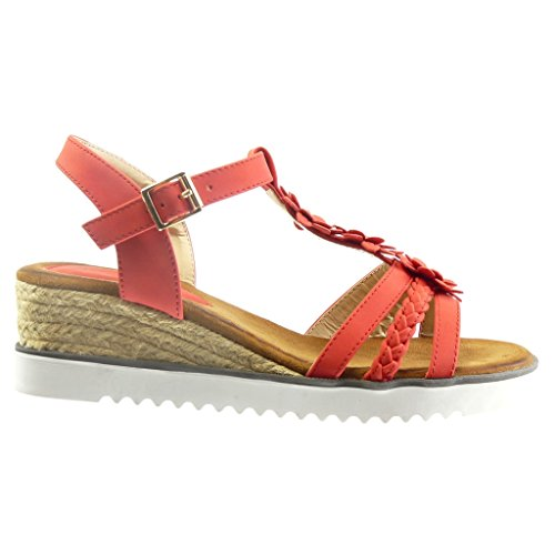 Angkorly - Chaussure Mode Sandale Espadrille salomés plateforme ouverte femme fleurs strass diamant corde Talon compensé plateforme 4.5 CM - Rouge