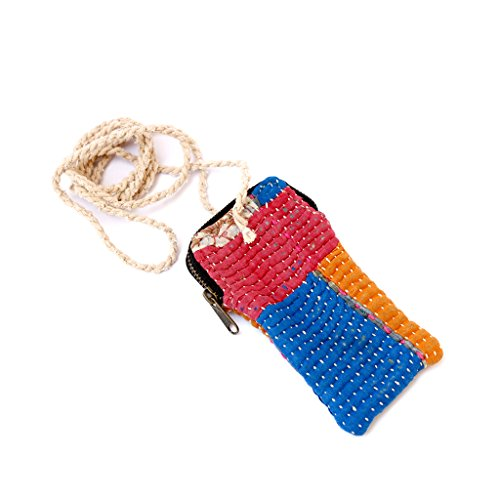 De Kulture Works Hand Quilted Recycled Textile Mobile Cover Pouch / Sling Bag 6X3.3 L.W. (Inches) For Mobile / Cell Phone Ideal For Valentine Gift Ideas Easter Decorations (Multicolour)