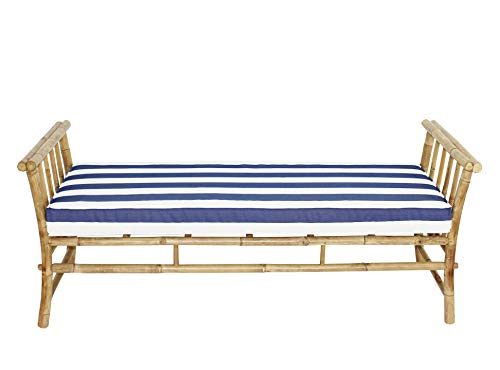 ZEW Bamboo Daybed Lounger Bench Sofa Chair Loveseat for Outdoor Indoor Patio Garden with Mattress, Blue White Stripe