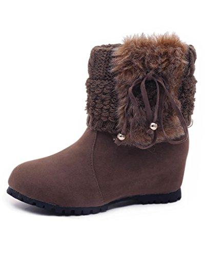 Minetom Mujer Invierno Moda Botines Conejo Pelaje Cuña Zapatos De Plataforma Calentar Botas De Nieve Marrón