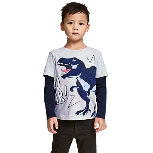 Little Mommy Dolls Twin (Toddler Baby Boys Long Patchwork Sleeve Cartoon Dinosaur Printed O-Neck Little Kid Clothes T-Shirt)