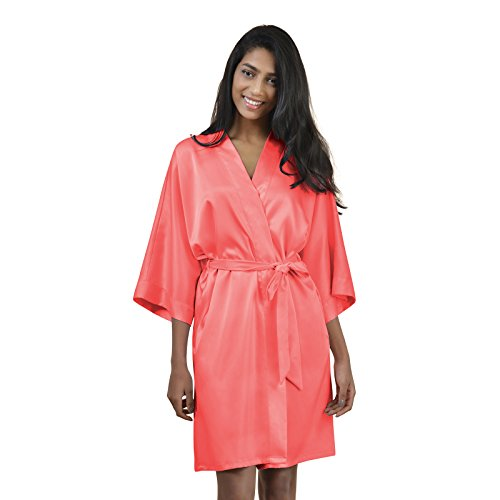 AWEI Womens Satin Robe Short Kimono Robe V-Neck Soft Bathrobe Sleepwear Solid Color, Coral Pink (Soft Pink Satin)