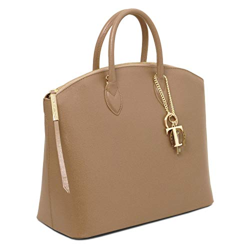 Scuro Tuscany Tl141261 blu Pelle Caramello Saffiano In Shopper Tl Keyluck Leather Borsa ArAvT