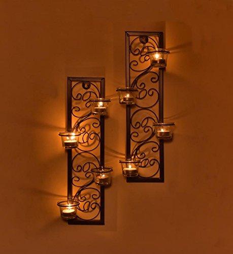 (Hashcart Wall Scone Tea Light Candle Holder Set of 2 Metal Candle Light Holder Set/Designer Votive Candle Holder Stand/Table Decorative Candle Holders, Votive Tea Light for Home Living Room & Office)