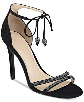 Guess Womens Peri Leather Open Toe Bridal Ankle Strap Heeled Sandals Black Suede Size 8.0 (Strap Guess Sandals Ankle)