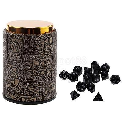 Acc D - 16pcs Number Multisided Dices Set Kids D&D RPG Game Accs Dice Cup Black