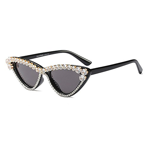 sol de ULTRAVIOLETA Gafas negro las de de Personalidad de protección lujo para sol Eyes Crystal diseñador mujeres del tonos color de de de gato la Novedad señora Brillantes d la Cat Ojos lujo Gafas de OpAqwv1