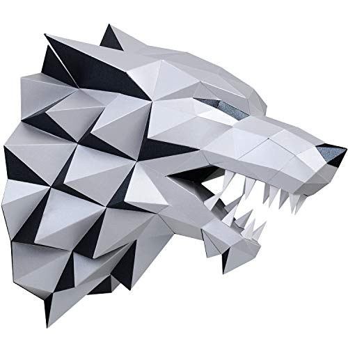 Paperraz 3D Wolf Head Animal Building Trophy Puzzle Low Poly PaperCraft Kit for Adults & Teens - NO Scissors Needed]()