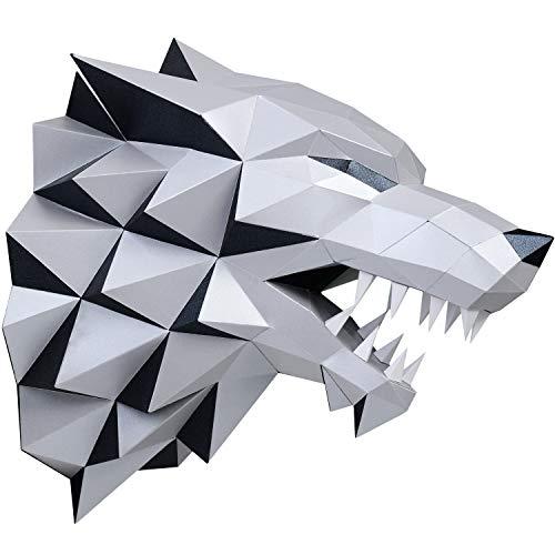 [해외]PAPERRAZ / Paperraz 3D Wolf Head Animal Building Trophy Puzzle Low Poly PaperCraft Kit for Adults & Teens - NO Scissors Needed