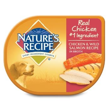 Nature's Recipe Chicken & Wild Salmon in Broth Adult Dog Food Tray, Case of 24