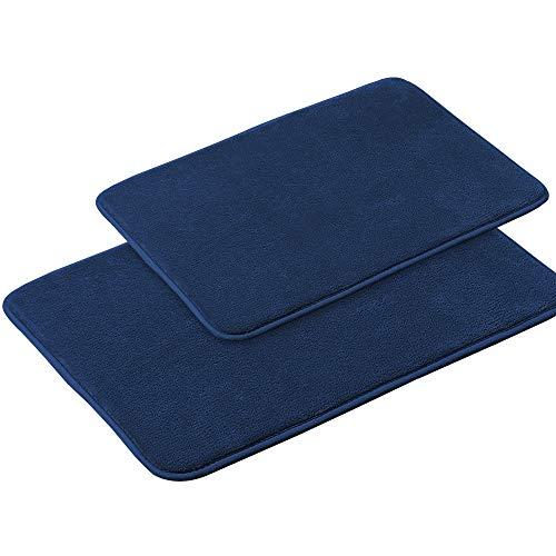 Soft Memory Foam Microfiber Bath Rugs Extra Absorbent Flannel Bath Mats Machine-Washable Bathroom Mat Set, 2 Piece, 20×32/17×24 Inch Navy