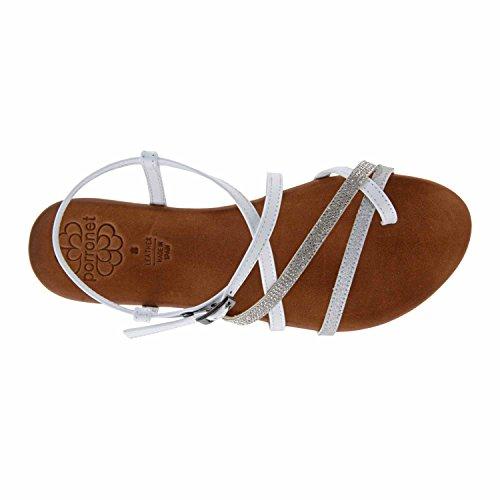 Sandalias piel brillos Porronet BLANCO