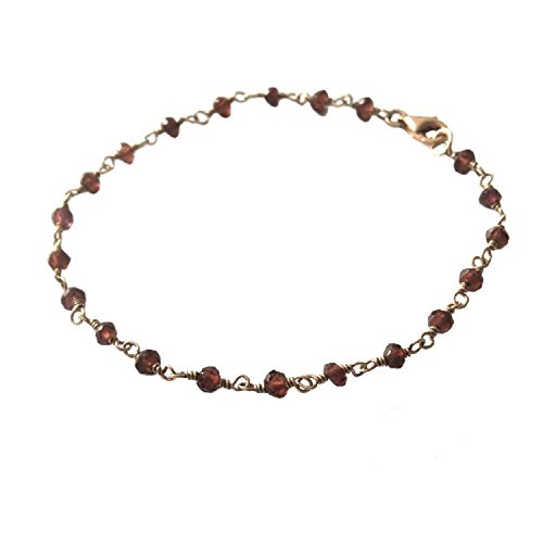 - Natural Red Garnet Bracelet / Anklet Rondelle Faceted Beads Rosary Rose Gold Plated Wire Wrapped Vermeil Link Chain (11.5 Inch Anklet)